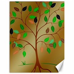 Tree Root Leaves Contour Outlines Canvas 12  x 16