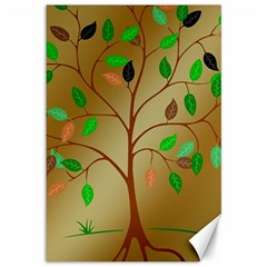 Tree Root Leaves Contour Outlines Canvas 12  x 18