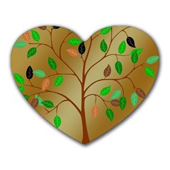 Tree Root Leaves Contour Outlines Heart Mousepads