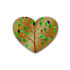 Tree Root Leaves Contour Outlines Rubber Coaster (heart)