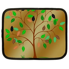 Tree Root Leaves Contour Outlines Netbook Case (Large)
