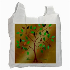 Tree Root Leaves Contour Outlines Recycle Bag (two Side)