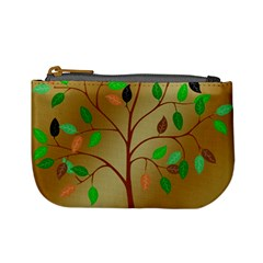 Tree Root Leaves Contour Outlines Mini Coin Purses