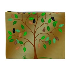 Tree Root Leaves Contour Outlines Cosmetic Bag (xl)