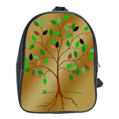 Tree Root Leaves Contour Outlines School Bags(Large)