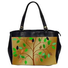 Tree Root Leaves Contour Outlines Office Handbags (2 Sides)