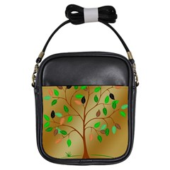 Tree Root Leaves Contour Outlines Girls Sling Bags
