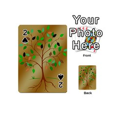 Tree Root Leaves Contour Outlines Playing Cards 54 (Mini)