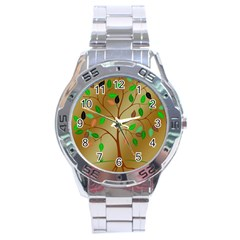 Tree Root Leaves Contour Outlines Stainless Steel Analogue Watch