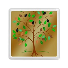 Tree Root Leaves Contour Outlines Memory Card Reader (Square)