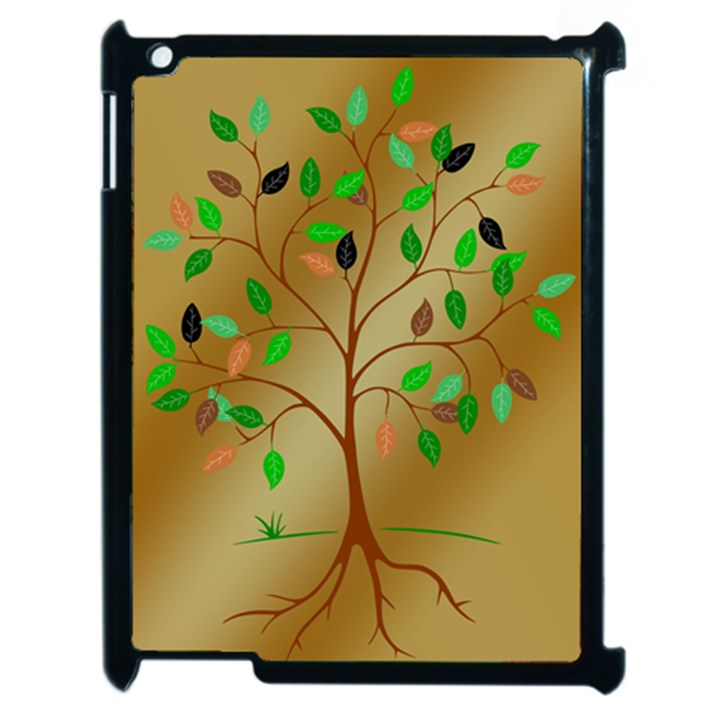 Tree Root Leaves Contour Outlines Apple iPad 2 Case (Black)