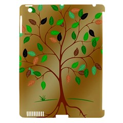 Tree Root Leaves Contour Outlines Apple iPad 3/4 Hardshell Case (Compatible with Smart Cover)