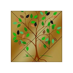 Tree Root Leaves Contour Outlines Acrylic Tangram Puzzle (4  x 4 )