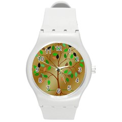 Tree Root Leaves Contour Outlines Round Plastic Sport Watch (M)