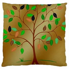 Tree Root Leaves Contour Outlines Large Cushion Case (One Side)