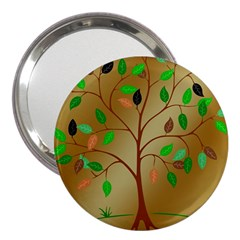Tree Root Leaves Contour Outlines 3  Handbag Mirrors