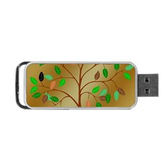 Tree Root Leaves Contour Outlines Portable USB Flash (Two Sides)