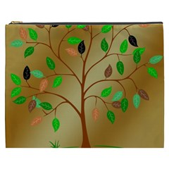 Tree Root Leaves Contour Outlines Cosmetic Bag (XXXL)