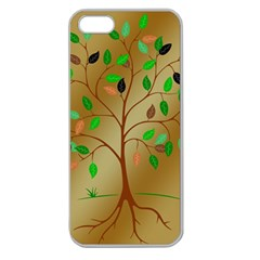 Tree Root Leaves Contour Outlines Apple Seamless iPhone 5 Case (Clear)
