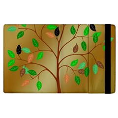 Tree Root Leaves Contour Outlines Apple iPad 2 Flip Case