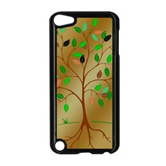 Tree Root Leaves Contour Outlines Apple iPod Touch 5 Case (Black)