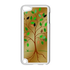 Tree Root Leaves Contour Outlines Apple iPod Touch 5 Case (White)