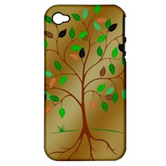 Tree Root Leaves Contour Outlines Apple iPhone 4/4S Hardshell Case (PC+Silicone)