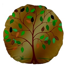 Tree Root Leaves Contour Outlines Large 18  Premium Round Cushions