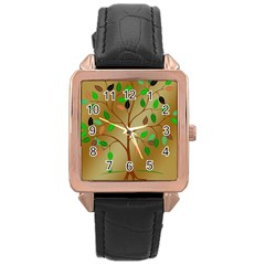 Tree Root Leaves Contour Outlines Rose Gold Leather Watch
