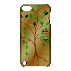 Tree Root Leaves Contour Outlines Apple Ipod Touch 5 Hardshell Case With Stand