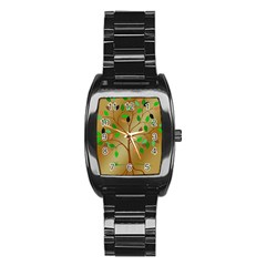 Tree Root Leaves Contour Outlines Stainless Steel Barrel Watch