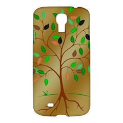 Tree Root Leaves Contour Outlines Samsung Galaxy S4 I9500/I9505 Hardshell Case