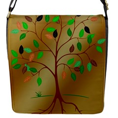 Tree Root Leaves Contour Outlines Flap Messenger Bag (S)