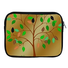 Tree Root Leaves Contour Outlines Apple iPad 2/3/4 Zipper Cases