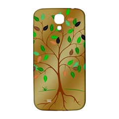 Tree Root Leaves Contour Outlines Samsung Galaxy S4 I9500/I9505  Hardshell Back Case