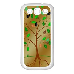 Tree Root Leaves Contour Outlines Samsung Galaxy S3 Back Case (White)