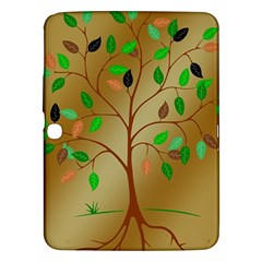 Tree Root Leaves Contour Outlines Samsung Galaxy Tab 3 (10.1 ) P5200 Hardshell Case