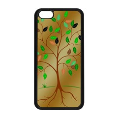 Tree Root Leaves Contour Outlines Apple iPhone 5C Seamless Case (Black)