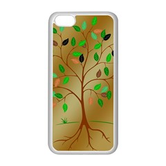 Tree Root Leaves Contour Outlines Apple iPhone 5C Seamless Case (White)