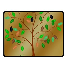 Tree Root Leaves Contour Outlines Double Sided Fleece Blanket (Small)
