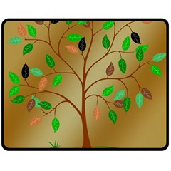 Tree Root Leaves Contour Outlines Double Sided Fleece Blanket (Medium)