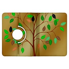 Tree Root Leaves Contour Outlines Kindle Fire HDX Flip 360 Case