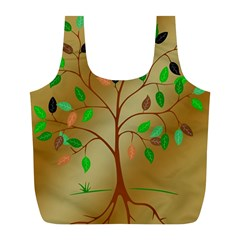Tree Root Leaves Contour Outlines Full Print Recycle Bags (L)