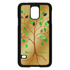 Tree Root Leaves Contour Outlines Samsung Galaxy S5 Case (Black)
