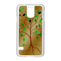 Tree Root Leaves Contour Outlines Samsung Galaxy S5 Case (White)