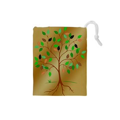 Tree Root Leaves Contour Outlines Drawstring Pouches (Small)