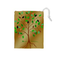 Tree Root Leaves Contour Outlines Drawstring Pouches (Medium)