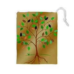 Tree Root Leaves Contour Outlines Drawstring Pouches (Large)