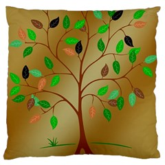 Tree Root Leaves Contour Outlines Large Flano Cushion Case (One Side)