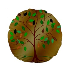 Tree Root Leaves Contour Outlines Standard 15  Premium Flano Round Cushions